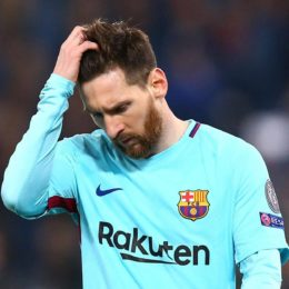 Soccer Football - Champions League Quarter Final Second Leg - AS Roma vs FC Barcelona - Stadio Olimpico, Rome, Italy - April 10, 2018   Barcelona's Lionel Messi reacts   REUTERS/Alessandro BianchiCODE: X90015