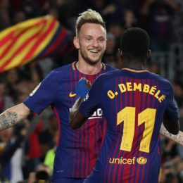 Soccer Football - La Liga Santander - FC Barcelona v Villarreal - Camp Nou, Barcelona, Spain - May 9, 2018   Barcelona's Ousmane Dembele celebrates with Ivan Rakitic after scoring their fourth goal    REUTERS/Albert GeaCODE: X01398