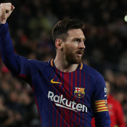 Soccer Football - La Liga Santander - FC Barcelona vs Leganes - Camp Nou, Barcelona, Spain - April 7, 2018   Barcelona's Lionel Messi celebrates scoring their first goal         REUTERS/Albert GeaCODE: X01398