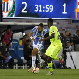 Soccer match between Leganes and Barcelona of the 2018/2019 Spanish League, held at the Butarque stadium, in Madrid. (Photo: Jose L. Cuesta/261/Cordon Press).       Cordon Press