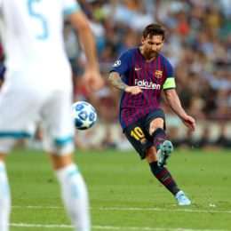 Barcelona's Lionel Messi scores his side's first goal of the game