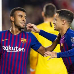 24.10.2018, xslx, Fussball Champions League, FC Barcelona Barca - Inter Mailand emspor, v.l. Rafinha Alcantara (FC Barcelona) Jubelt nach den Tor 1-0 gemeinsam mit Coutinho (FC Barcelona) (DFL/DFB REGULATIONS PROHIBIT ANY USE OF PHOTOGRAPHS as IMAGE SEQUENCES and/or QUASI-VIDEO) Barcelona *** 24 10 2018 xslx Football Champions League FC Barcelona Inter Milan emspor v L Rafinha Alcantara FC Barcelona celebrates after scoring 1 0 together with Coutinho FC Barcelona DFL DFB REGULATIONS PROPHIBIT ANY USE OF PHOTOGRAPH as IMAGE SEQUENCES and or QUASI VIDEO Barcelona