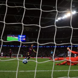 Barcelona Lionel Messi scores his side fourth goal during the UEFA Champions League, Group B match at Wembley Stadium, London.