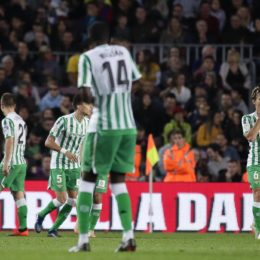 November 11, 2018 - Barcelona, Catalonia, Spain - November 11, 2018 - Camp Nou, Barcelona, Spain - LaLiga Santander- FC Barcelona v Real Betis Balompie; .Sergio Canales of Real Betis celebrates his goal against Barcelona. (Credit Image: © Marc Dominguez/ZUMA Wire)