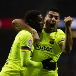 Luis Suárez of FC Barcelona and  Ousmane Dembélé of FC Barcelona celebrates a goal during the LaLiga 2018/19 match between Atletico de Madrid and Barcelona, at Wanda Metropolitano Stadium in Madrid on November 24, 2018. (Photo by Guille Martinez/Cordon Press) Cordon Press