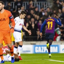 11.12.2018, xslx, Fussball Champions League, FC Barcelona Barca - Tottenham Hotspur emspor, v.l. Dembele (FC Barcelona) Jubelt nach den Tor zum 1-0 (DFL/DFB REGULATIONS PROHIBIT ANY USE OF PHOTOGRAPHS as IMAGE SEQUENCES and/or QUASI-VIDEO) Barcelona *** 11 12 2018 xslx Football Champions League FC Barcelona Tottenham Hotspur emspor v l Dembele FC Barcelona Cheers after the goal to 1 0 DFL DFL REGULATIONS PROHIBIT ANY USE OF PHOTOGRAPHS as IMAGE SEQUENCES and or QUASI VIDEO Barcelona