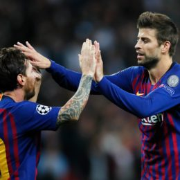 October 3, 2018 - London, United Kingdom - Barcelona''s Lionel Messi celebrates with Gerard Pique after scoring his teams fourth goal during the UEFA Champions League Group B match at Wembley Stadium, London. Picture date: 3rd October 2018. Picture credit should read: David Kein/Sportimage(Credit Image: © David Klein/CSM via ZUMA Wire)