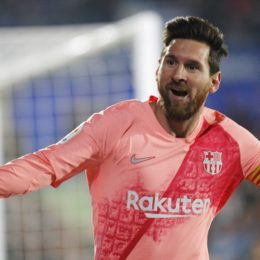 Soccer match between Getafe and Barcelona of the 2018/2019 Spanish League, held at the Santiago Bernabeu stadium, in Madrid. (Photo: Jose L. Cuesta/261/Cordon Press). Lionel Messi celebrates after scoring      Cordon Press