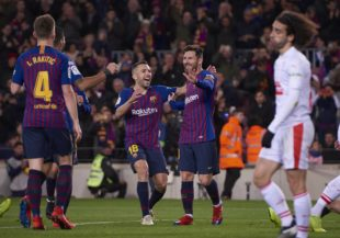 January 13, 2019 - Barcelona, U.S. - BARCELONA, SPAIN - JANUARY 13: Lionel Messi, forward of FC Barcelona celebrates his goal with his teammates the ball during the La Liga match between FC Barcelona and SD Eibar at Camp Nou Stadium on January 13, 2019 in Barcelona, Spain. (Photo by Carlos Sanchez Martinez/Icon Sportswire) (Credit Image: © Carlos Sanchez Martinez/Icon SMI via ZUMA Press)