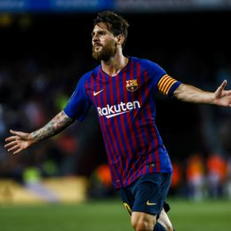 August 18, 2018 - Barcelona, Catalonia, Spain - Leo Messi from Argentina celebrating his goal during the La Liga game between FC Barcelona against Deportivo Alaves in Camp Nou Stadium at Barcelona, on 18 of August of 2018, Spain. (Credit Image: © Xavier Bonilla/NurPhoto via ZUMA Press)