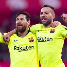 27.01.2019, xslx, Fussball Fussball La Liga, FC Girona - FC Barcelona Barca emspor, v.l. Lionel Messi (FC Barcelona), Jordi Alba (FC Barcelona) Jubelt gemeinsam nach den Tor zu 2-0 (DFL/DFB REGULATIONS PROHIBIT ANY USE OF PHOTOGRAPHS as IMAGE SEQUENCES and/or QUASI-VIDEO) Girona *** 27 01 2019 xslx Football Football La Liga FC Girona FC Barcelona emspor v l Lionel Messi FC Barcelona Jordi Alba FC Barcelona Cheers together after the goal to 2 0 DFL DFB REGULATIONS PROHIBIT ANY USE OF PHOTOGRAPHS as IMAGE SEQUENCES and or QUASI VIDEO Girona