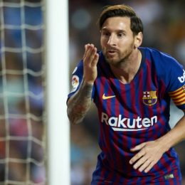 October 7, 2018 - Valencia, Valencia, Spain - Leo Messi celebrates after scoring his sides first goal during the week 8 of La Liga match between Valencia CF and FC Barcelona at Mestalla Stadium in Valencia, Spain on October 7, 2018. (Credit Image: © Jose Breton/NurPhoto/ZUMA Press)