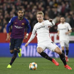 Sevilla FC player Kjaer (R) and FC Barcelona player Prince Boateng (L) in the Copa del Rey quarterfinal match, facing Sevilla FC and FC Barcelona, at the Ramon Sanchez Pizjuan stadium, Sevilla , Andalucia Spain, January 23, 2019, photo: Cristobal Duenas / Cordon Press Cordon Press