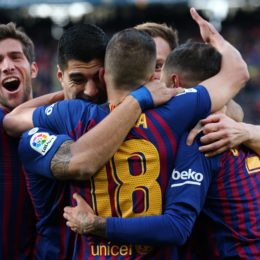 Philippe Coutinho goal celebration during the match between FC Barcelona and Real Madrid CF, corresponding to the week 10 of the Liga Santander, played at the Camp Nou, on 28th October 2018, in Barcelona, Spain.   -- (Photo by Urbanandsport/NurPhoto/Sipa USA) *** Local Caption *** 24616856