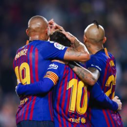 February 16, 2019 - Barcelona, Catalonia, Spain - February 16, 2019 - Camp Nou, Barcelona, Spain - LaLiga Santander- FC Barcelona v Valladolid CF; Lionel Messi of FC Barcelona celebrates scoring his side's first goal ..Credit Image: © Marc Dominguez via ZUMA Wire) (Credit Image: © Marc Dominguez/ZUMA Wire)