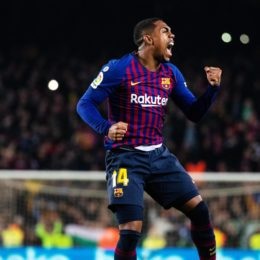 (190207) -- BARCELONA, Feb. 7, 2019 (Xinhua) -- FC Barcelona Barca s Malcom celebrates scoring during the Spanish King s Cup semifinal first leg match between FC Barcelona and Real Madrid in Barcelona, Spain, on Feb. 6, 2019. The match ended with a 1-1 draw. (Xinhua/Joan Gosa) (SP)SPAIN-BARCELONA-FOOTBALL-SPANISHI KING S CUP-FC BARCELONA VS REAL MADRID PUBLICATIONxNOTxINxCHN
