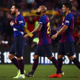 February 6, 2019 - Barcelona, Spain - FC Barcelona's midfielder Arturo Vidal (L) Leo Messi (C) and FC Barcelona's forward Luis Suarez  (R) after semifinal of spanish King Cup frist leg match between FC Barcelona and Real Madrid at  Nou Camp Stadium on February  6, 2019. (Credit Image: © Jose Miguel Fernandez/NurPhoto via ZUMA Press)