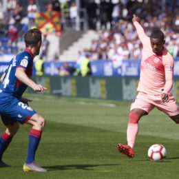 April 13, 2019 - Huesca, U.S. - HUESCA, SPAIN - APRIL 13: Malcom, forward of FC Barcelona with the ball during the La Liga match between SD Huesca and FC Barcelona at Alcoraz stadium on April 13, 2019 in Huesca, Spain. (Photo by Carlos Sanchez Martinez/Icon Sportswire) (Credit Image: © Carlos Sanchez Martinez/Icon SMI via ZUMA Press)