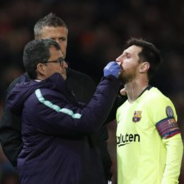Lionel Messi of Barcelona gets an injury treated during the UEFA Champions League match at Old Trafford, Manchester. Picture date: 10th April 2019. Picture credit should read: Darren Staples/Sportimage  via PA Images