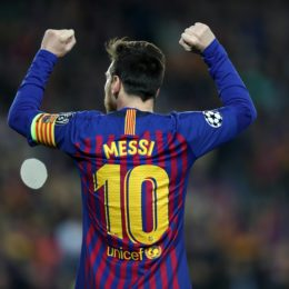 Lionel Messi of FC Barcelona celebrates after scoring his side's opening goal during the UEFA Champions League, quarter-finals, 2nd leg football match between FC Barcelona and Manchester United FC on April 16, 2019 at Camp Nou stadium in Barcelona, Spain - Photo Manuel Blondeau / AOP Press / DPPI