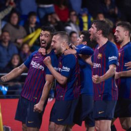 April 2, 2019 - Villarreal, U.S. - VILLARREAL, SPAIN - APRIL 02: Luis Suarez, forward of FC Barcelona celebrates his goal with his teammates during the La Liga match between Villarreal CF and FC Barcelona at Ceramica stadium on April 02, 2019 in Villarreal, Spain. (Photo by Carlos Sanchez Martinez/Icon Sportswire) (Credit Image: © Carlos Sanchez Martinez/Icon SMI via ZUMA Press)