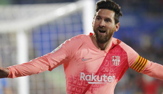 Soccer match between Getafe and Barcelona of the 2018/2019 Spanish League, held at the Santiago Bernabeu stadium, in Madrid. (Photo: Jose L. Cuesta/261/Cordon Press). Lionel Messi celebrates after scoring      Cordon Press