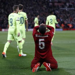 Liverpool's Georginio Wijnaldum celebrates at the final whistle during the UEFA Champions League match at Anfield, Liverpool. Picture date: 7th May 2019. Picture credit should read: Darren Staples/Sportimage via PA Images