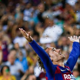 August 25, 2019, Barcelona, Catalonia, Spain: August 25, 2019 - Camp Nou, Barcelona, Spain - La Liga Santander - FC Barcelona v Real Betis; Antoine Griezmann of FC Barcelona celebrates scoring his side's 2nd goal  (Credit Image: © Eric Alonso/ZUMA Wire)