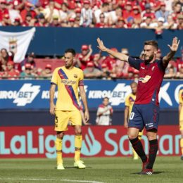 August 31, 2019, Pamplona, Spain: Roberto Torres (midfielder; CA Osasuna) in action during the Spanish La Liga Santander, match between CA Osasuna and FC Barcelona at the Sadar stadium. (Credit Image: © Fernando Pidal/SOPA Images via ZUMA Wire)