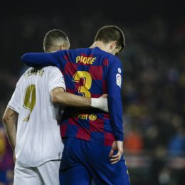 09 Karim Benzema from France of Real Madrid and 03 Gerard Pique from Spain of FC Barcelona during La Liga match between FC Barcelona and Real Madrid at Camp Nou on December 18, 2019 in Barcelona, Spain.  Cordon Press