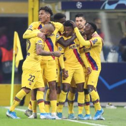 (191211) -- MILAN, Dec. 11, 2019 (Xinhua) -- Barcelona's Ansu Fati (3rd R) celebrates with his teammates after scoring during a UEFA Champions League group F match between FC Inter and Barcelona in Milan, Italy, Dec. 10, 2019. (Xinhua/Cheng Tingting) (Photo by Xinhua/Sipa USA) *** Local Caption *** 28422744