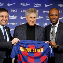 Presentación del nuevo entrenador del FC BArcelopna Quique Setién.