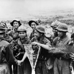 (Eingeschränkte Rechte für bestimmte redaktionelle Kunden in Deutschland. Limited rights for specific editorial clients in Germany.) Vietnam War A unit of the Vietcong that was outstanding in the fightings for an elevation in the north of Quang Tri province is awarded a pennant  (Photo by ADN-Bildarchiv/ullstein bild via Getty Images)