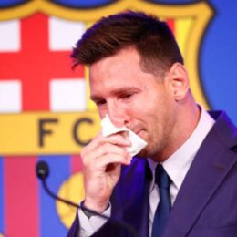 BARCELONA, SPAIN - AUGUST 08: Lionel Messi of FC Barcelona faces the media during a press conference at Nou Camp on August 08, 2021 in Barcelona, Spain. (Photo by Eric Alonso/Getty Images